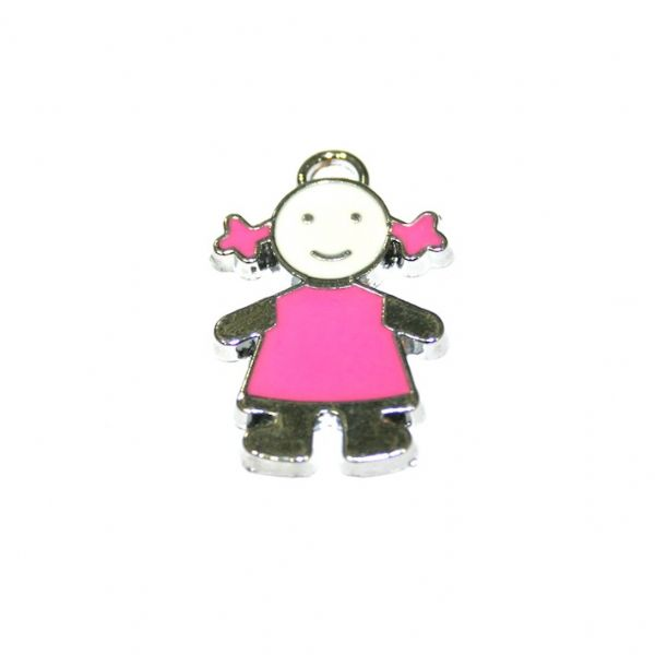 1pce x 21*15mm little girl in pink T-shirt enamel charms - S.D03 - CHE1237